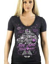 BLACK PINK ROCKABILLY RAT ROD HOT ROD SKULLS T-SHIRT S-XL