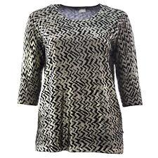 MARINA RINALDI Women's Black/Gold Anatolia Printed Sweater $425 NWT