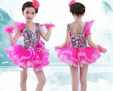 Girl Children Kid Ballet Dance Latin Performance Jazz Tutu Costume Party Dress
