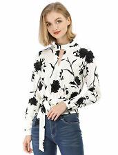 Allegra K Women's Choker V Neck Cropped Floral Blouse Tops