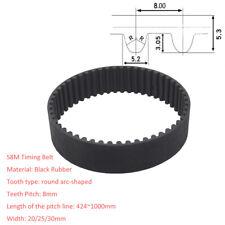 S8M(424~1000)/Pitch 8mm Black Rubber Gear Timing Belt Transmission Drive Belts