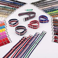 18mm 20mm 22mm 24mm Solid Stripe nato Wrist Nylon Watch Strap Band