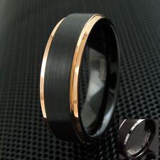 Engraved 7mm Tungsten Ring Rose Gold Black Brushed Wedding Band Ring Men's