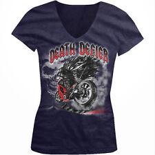Death Defier Motorcycle Grim Reaper Angel Scythe Riding Juniors V-Neck T-Shirt