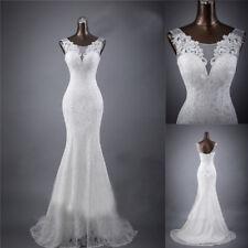White Lace Wedding Dress Mermaid/Trumpet Double Shoulder Train Bridal Dress