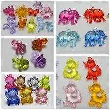 Craft DIY Mixed Colour Transparent Acrylic Charm Pendants Large Animal Shape