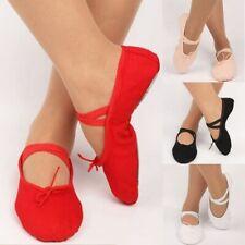 Adult Children Kids Girls Canvas Split Sole Ballet Dance Shoes Pointe Slippers