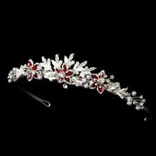Silver Red Gold Ivory Black Royal Blue Floral Crystal Pearl Prom Bridal Tiara