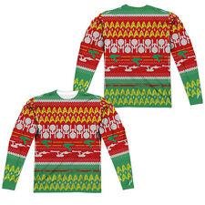 STAR TREK PATTERN FAUX UGLY CHRISTMAS SWEATER Men's Long Sleeve Tee Shirt SM-3XL