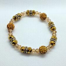 Handmade Golden Elasticated Faux Pearl Beads Bracelets for Women