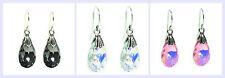 STR Silver French Hook w/ Faceted Briolette Swarovski Elements Dangle Earring