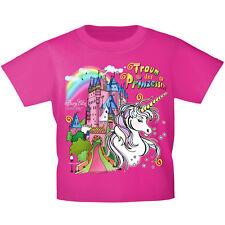 Marken Kinder T-Shirt 98 - 164 in 3 Farben Einhorn Burg Traum Prinzessin 12430