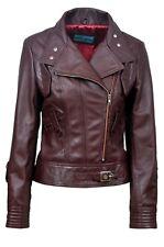TOPMODEL Ladies Leather Jacket OXBLOOD Real Italian Nappa Leather Biker Design