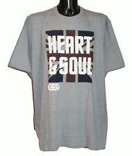 Mens Big Size Espionage Cotton Union Jack Heart & Soul T Shirt In Grey  5XL 6XL