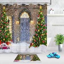 Xmas Tree Snowflake Front Door Decor Bathroom Shower Curtain Waterproof Fabric