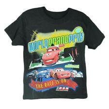 Disney Pixar Cars 2 Movie Animation World Grand Prix Boys Tshirt Tee Race Black