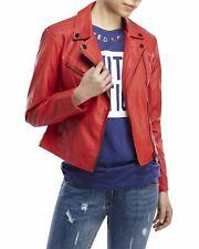 Noora New Women Lambskin Leather Designer Red Jacket Modern Bikers Stylesh QD262