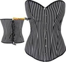 Black and White Striped Corset Satin Shapewear Waist Reduction Sizes 6 to 26