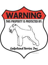 "Warning! Lakeland Terrier - Property Protected Aluminum Dog Sign - 7"" x 8"""