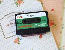 NASTRO A CASSETTA Rubber Stamp BONJOUR stampare lettere Tasca fai da te Scrapbooking Craft