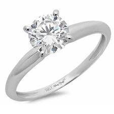 1ct Round Designer Statement Bridal Classic Ring 14k white Gold Real Moissanite