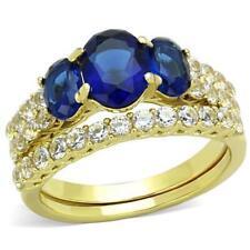 1720 SAPPHIRE WEDDING & ENGAGEMENT RING SET SIMULATED DIAMOND RING GLD STEEL