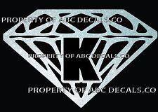 VRS Diamond CUSTOM INITIAL K DIAMANTE JEWEL STONE Metal CAR Decal Wall Sticker
