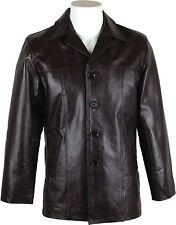 UNICORN Hombres real cuero chaqueta clásico Chaqueta Blazer traje Marrón #AD