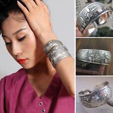 Adjustable Tibetan Tibet silver Totem Bangle Cuff Bracelet Vintage