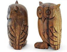 "Wooden Owl Ornament 8"" / 20cm Handmade Acacia. Choice of 2 colours"