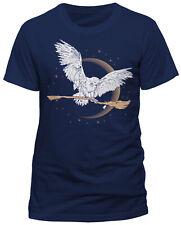 Harry Potter 'Hedwig Escoba' (Azul Marino) T-Shirt - Nuevo y Oficial