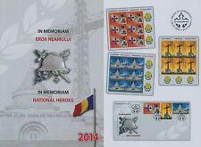 Rumänien 2014 Heldengedenken,Orden,National Heroes Mi.6840-42,TAB,KB-Satz,FDC