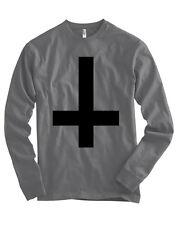 Inverted Upside Down Cross Bella + Canvas Long Sleeve Shirt Satan Devil - NEW
