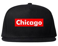 Chicago Illinois Red Box Snapback Hat Baseball Cap