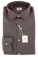 New $450 Luigi Borrelli Brown Shirt - Extra Slim - (EV0655882ST)