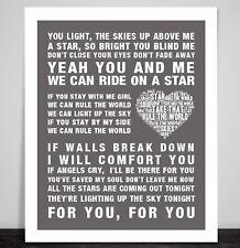 Take That Song Lyrics Rule The World Art Print Poster Gay Barlow Wedding Gift