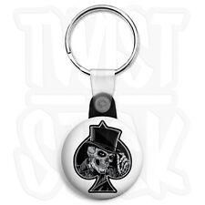 Ace of Spades - Top Hat Skull - 25mm Biker Keyring Button Badge, Zip Pull Option