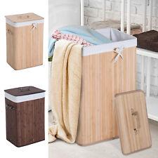 Cesto para Ropa Sucia Plegable con Tapa Cubo para Colada Rectangular Bambú 70L