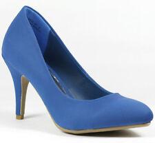 Blue Classic Medium Heel Pointy Toe Fashion Dress Pump Bamboo Vinnie-01