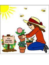 Female Gardening Garden Gardener Personalised Edible Cake Topper Wafer Icing squ