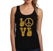 Velocitee Ladies Vest Funky Retro Love CND Slogan Festival Gold Design VLF03