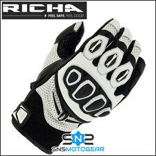 Richa Turbo Summer Short Sports Motorcycle Motorbike Leather Gloves - White