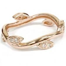 1/8Ct Diamond Vine Vintage Antique Leaf Ring 14K Rose Gold Eternity Band