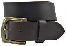 Full Grain Solid Cowhide Leather Belt w/Brass Buckle - Brown - TBS3260-200
