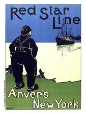 Red Star Line transportation vintage POSTER.Graphic Design. Art Decoration.3200