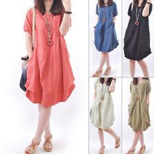 Plus Size Women's Dress Casual Loose Cotton Linen Shirt Dress