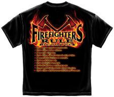 FIREFIGHTER RULES T-SHIRT FIREMEN FIRE RESCUE FIRE DEPT TEE FD S-3XL MENS BLACK