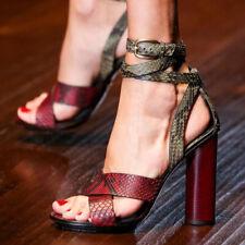 Women Elegant Snakes Sandals Ankle Strap Buckle Block Heel Customized Big Size