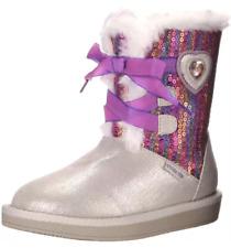 NIB Stride Rite Disney Frozen Cozy Sequin Girls silver flat heel boot Elsa Anna