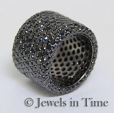 11.00 Carat Black Diamond Ring in 14k White Gold 4.5